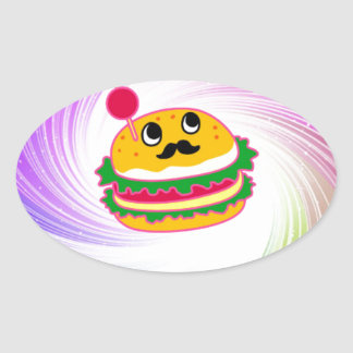 kawaii psychedelic hamburger oval sticker
