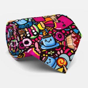 Kawaii Punk Party Doodles Personalized Neck Tie
