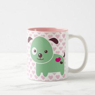 Kawaii puppy Two-Tone coffee mug
