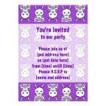 Kawaii Purple Bunny Pattern Custom Invitations