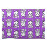 Kawaii Purple Bunny Pattern Placemats