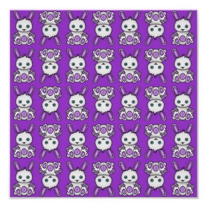 Kawaii Purple Bunny Pattern Poster