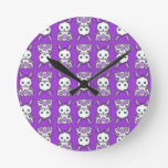 Kawaii Purple Bunny Pattern Round Wall Clocks