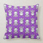 Kawaii Purple Bunny Pattern Throw Pillows