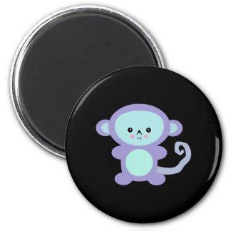 kawaii purple monkey 2 inch round magnet