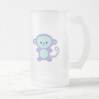 kawaii purple monkey frosted glass beer mug