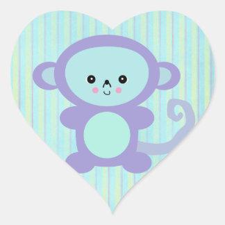 kawaii purple monkey heart sticker