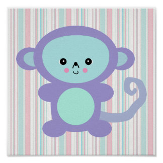 kawaii purple monkey print