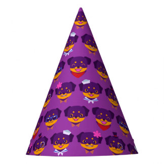 Kawaii Purple Rottweiler Puppies Party Hat