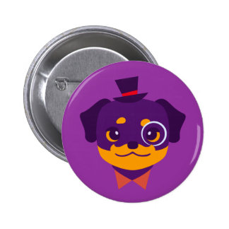 Kawaii Purple Rottweiler Puppy Button