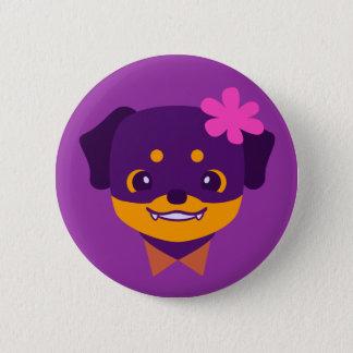Kawaii Purple Rottweiler Puppy Button