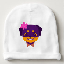 Kawaii Purple Rottweiler Puppy Pattern Baby Beanie