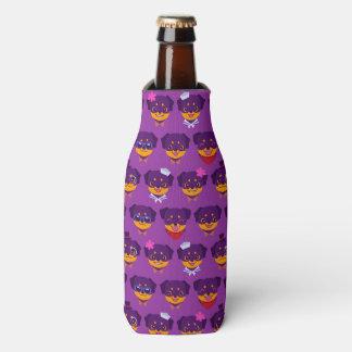 Kawaii Purple Rottweiler Puppy Pattern Bottle Cooler