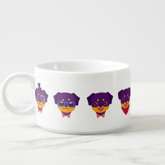 Kawaii Purple Rottweiler Puppy Pattern Bowl