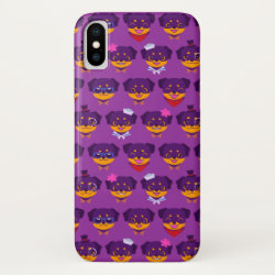 Kawaii Purple Rottweiler Puppy Pattern iPhone XS Case