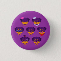Kawaii Purple Rottweiler Puppy Pattern Pinback Button
