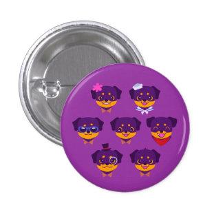 Kawaii Purple Rottweiler Puppy Pattern Pinback Button