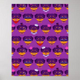 Kawaii Purple Rottweiler Puppy Pattern Poster