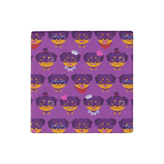 Kawaii Purple Rottweiler Puppy Pattern Stone Magnet