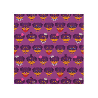 Kawaii Purple Rottweiler Puppy Pattern Wood Wall Art