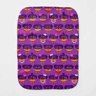 Kawaii Purple Rottweiler Puppy Pattern Burp Cloth