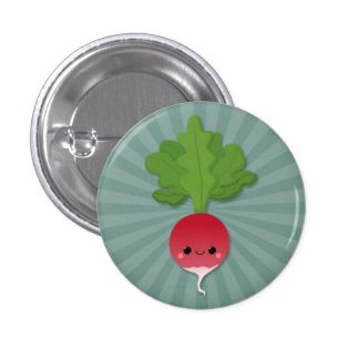 Kawaii Radish on Teal Starburst Button