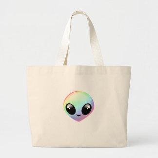Kawaii Rainbow Alien Large Tote Bag