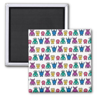 Kawaii Rainbow Alien Monsters Pattern 2 Inch Square Magnet