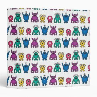 Kawaii Rainbow Alien Monsters Pattern 3 Ring Binder