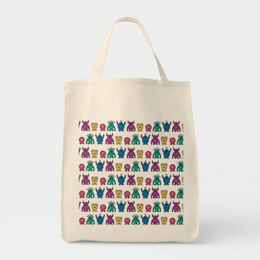 Kawaii Rainbow Alien Monsters Pattern Canvas Bags
