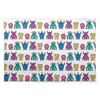Kawaii Rainbow Alien Monsters Pattern Cloth Placemat