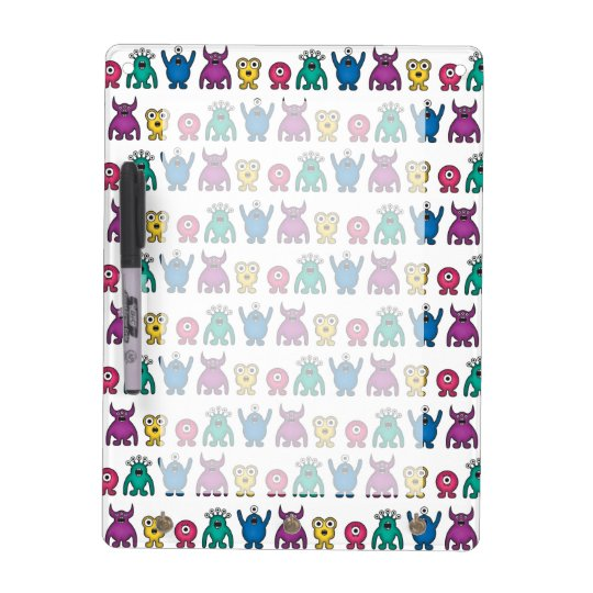 Kawaii Rainbow Alien Monsters Pattern Dry Erase Board