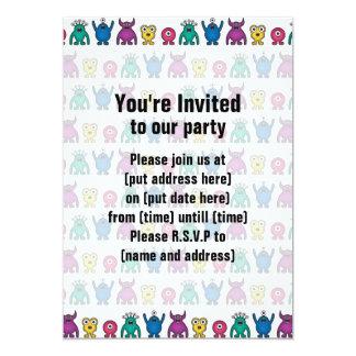 "Kawaii Rainbow Alien Monsters Pattern 5"" X 7"" Invitation Card"