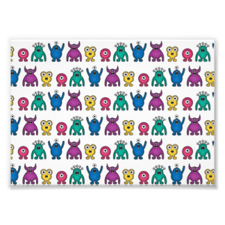 Kawaii Rainbow Alien Monsters Pattern Photograph