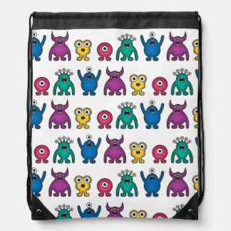 Kawaii Rainbow Alien Monsters Pattern Cinch Bags