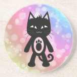 Kawaii Rainbow and Black Cat Beverage Coaster