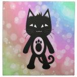 Kawaii Rainbow and Black Cat Cloth Napkin