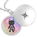Kawaii Rainbow and Black Cat Custom Necklace