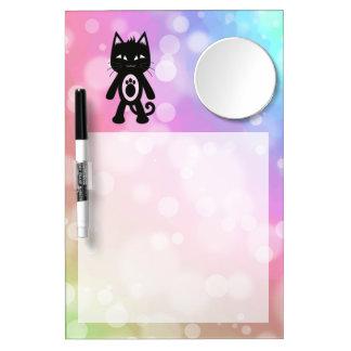 Kawaii Rainbow and Black Cat Dry Erase Board With Mirror