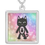 Kawaii Rainbow and Black Cat Necklace