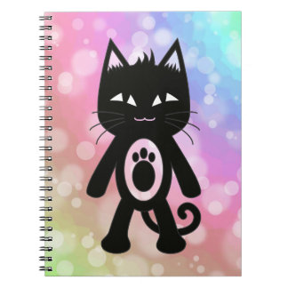 Kawaii Rainbow and Black Cat Spiral Notebook