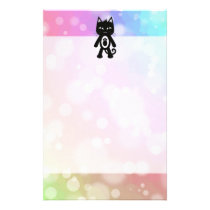 Kawaii Rainbow and Black Cat Stationery