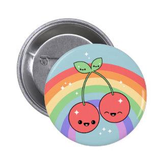 Kawaii Rainbow Cherries Button