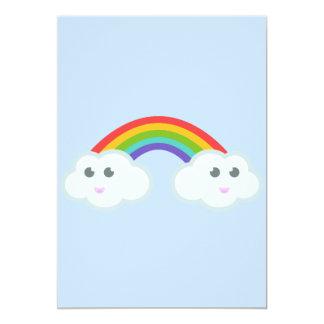 Kawaii rainbow cloud card