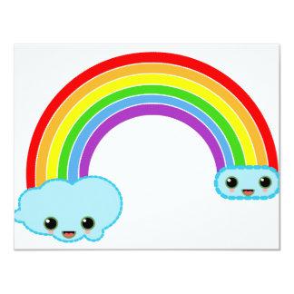 kawaii rainbow clouds card
