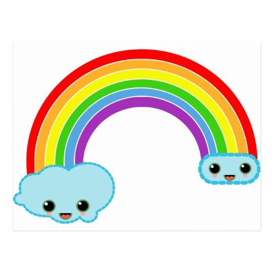kawaii rainbow clouds postcard