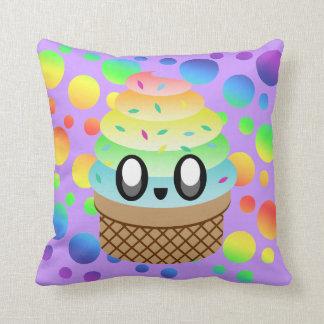 Kawaii Rainbow Ice Cream Cone Throw Pillow
