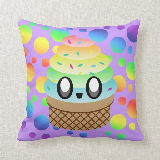 Ice Cream Throw Pillows : Kawaii Rainbow Ice Cream Cone Throw Pillow Zazzle
