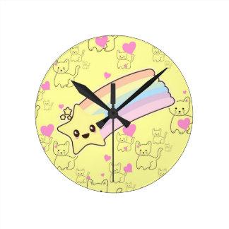 Kawaii rainbow kittens pattern so cute. So Kawaii Round Clock