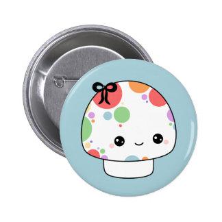 Kawaii Rainbow Mushroom Button